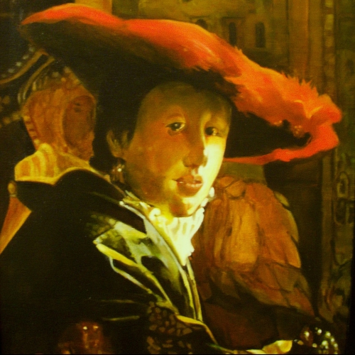 A Girl with Red Hat  copy of  J. Vermeer 20 x 18 inch 2009