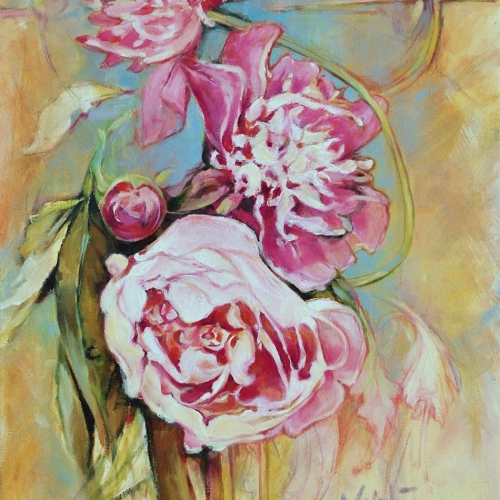 Peonies Oil Canvas 20 x16 inch 2017
