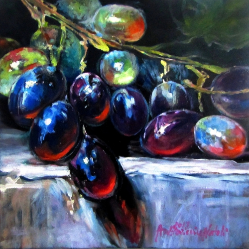 Grapes Oil Wooden Panel 10 x 10 inch  2017 SOLD