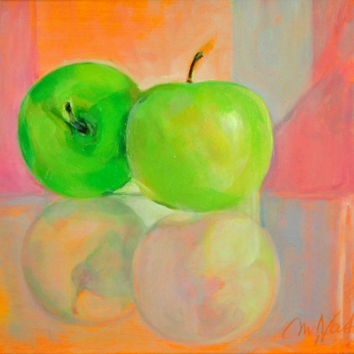 Two Green Apples I   Oil on Paper Board  10 x 8 inch 2017