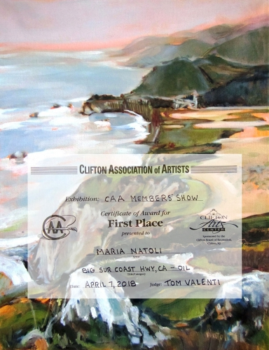 Award the 1st Place on Fall Exhibition for CAA at Membersat Lambert Castele Museum, Clifton New Jersey 2018